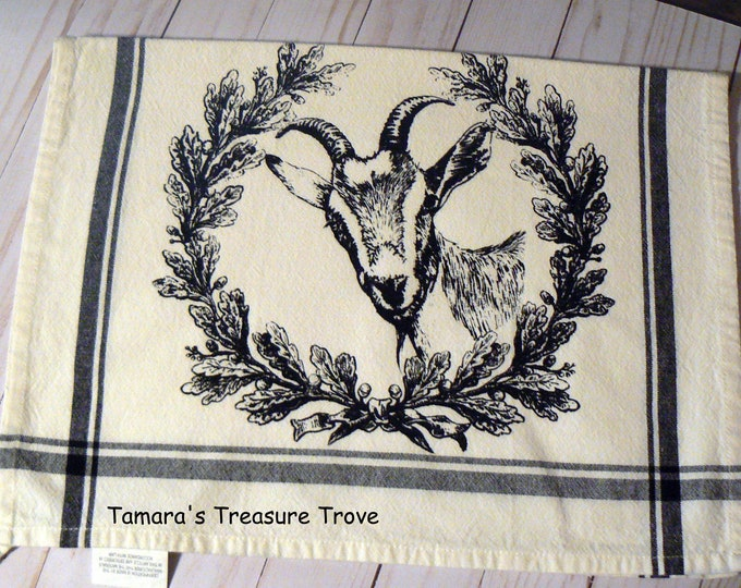 Goat Farmhouse Hand Towel Whimsical Tea Towel Black Retro Stripe Kitchen Decor