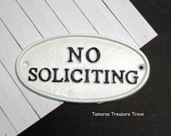 No Soliciting Cast Iron Sign Black White Wall Door Home Office Decor