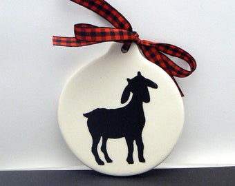 Goat Ornament Christmas Farmhouse Country Chic Ceramic Holiday Gift Decor