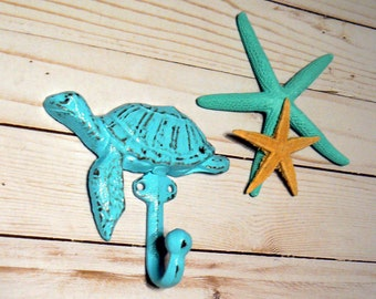 Sea Turtle Cast Iron Hook Blue Cottage Chic Shabby Chic Nautical Beach Home Decor