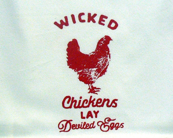 Farmhouse Hand Towel Wicked Chickens Lay Deviled Eggs Red Retro Striped Off White Cotton Kitchen Towel