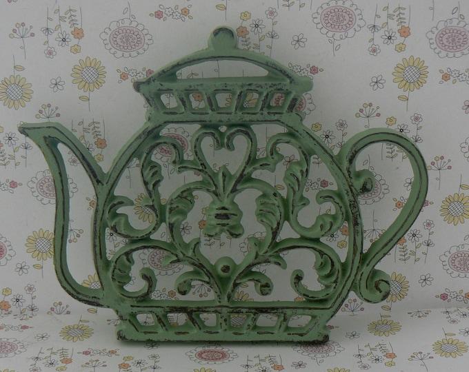 Teapot Cast Iron Trivet Hot Plate Pistachio Mint Green Shabby Chic Kitchen Decor