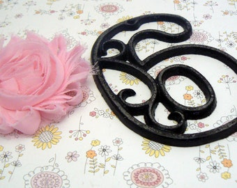 """House Mailbox """" Number 6 Six """" 4.5 Inches Cast Iron Black Shabby Chic Victorian Table Address Accent Number #6"""