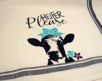Farmhouse Hand Towel Heifer Please Black Striped Cotton Kitchen Towel