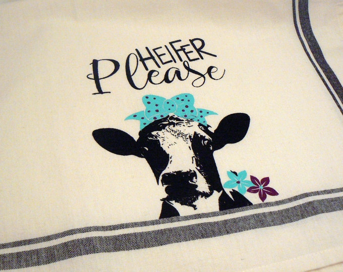 Farmhouse Hand Towel Heifer Please Black Striped Cotton Kitchen Towel