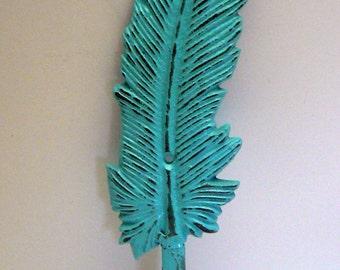 Feather Cast Iron Boho Wall Hook Turquoise Shabby Chic Bohemian Home Decor