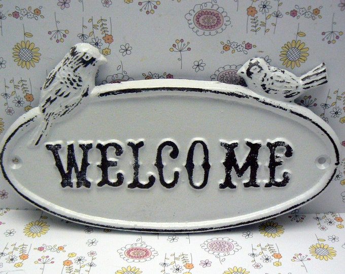 Bird Welcome Cast Iron Sign Shabby Chic White Two Birds Door Plaque