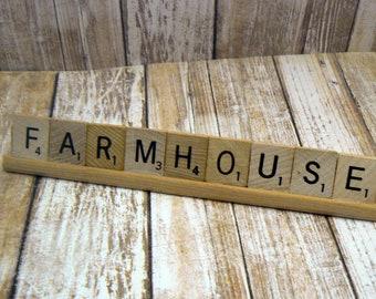 Farmhouse Scrabble Tile Rack Signage Personal Business Display Decor Plaque