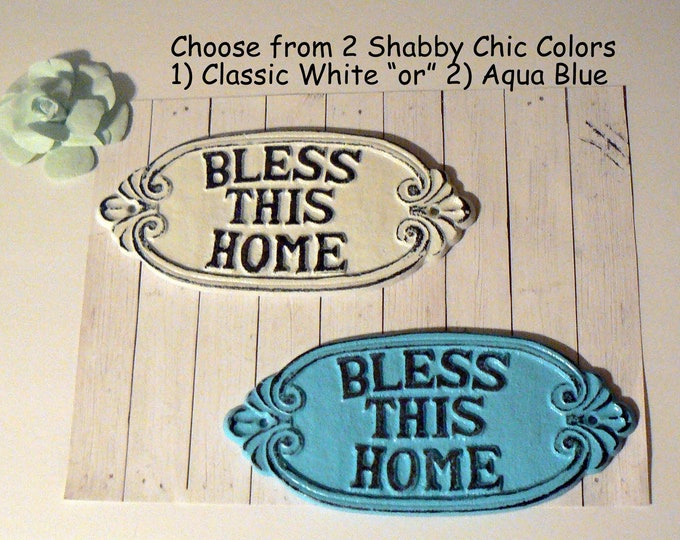 Bless This Home Sign Welcome Metal Greeting Plaque Choose Classic White OR Aqua Blue Shabby Chic Entryway Door Decor Farmhouse Housewarming