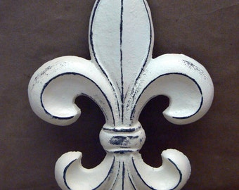 Fleur de lis Cast Iron FDL Wall Art Shabby Chic Off White Home Decor