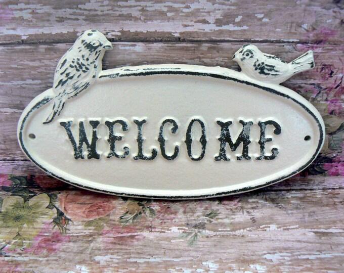 Bird Welcome Sign Cast Iron Shabby Elegance Creamy Off White Distressed Double Birds Garden Door Wall Plaque