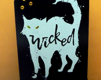 Wicked Cat Halloween Sign Chalkboard Plaque on Wood Stand