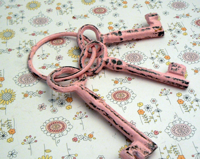 Jailer Keys 3 on Ring Cast Iron Shabby Chic Pink French Country Prop Home Decor