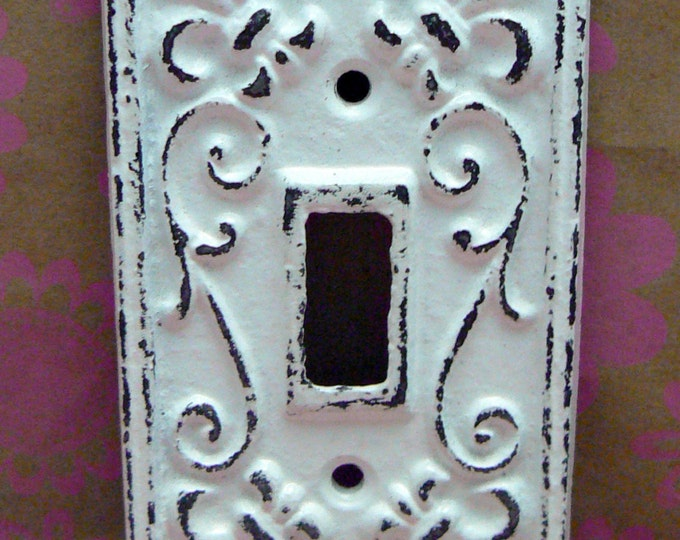 Fleur de lis Cast Iron FDL Light Switch Cover Shabby Chic White Home Decor