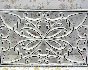 Rectangle Heart Swirl Cast Iron Trivet Hot Plate White Shabby Chic French Kitchen Dining Decor