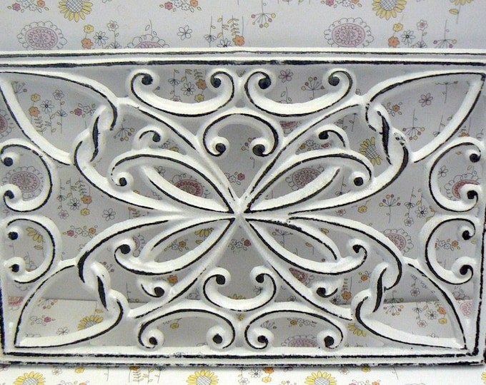 Rectangle Heart Swirl Cast Iron Trivet Hot Plate White Shabby Chic French Kitchen Dining Decor