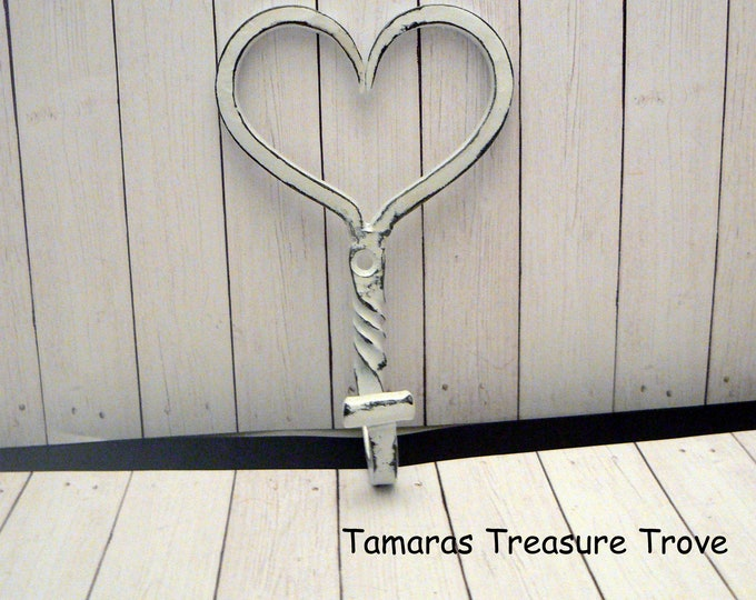 Heart Wall Hook Shabby Chic White Twisted Valentine Heart Hook