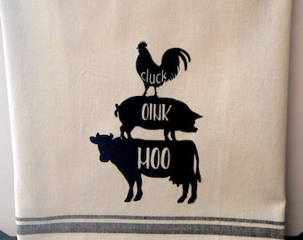 Farmhouse Hand Towel Stacking Animals Cow Pig Rooster Black Striped Cotton Kitchen Towel Moo Oink Cluck