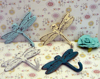 Dragonfly Set 4 Hooks Cast Iron Shabby Chic MINI Wall Hook Teal White Blue OFF White