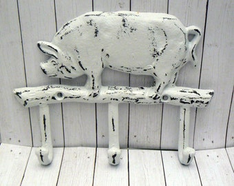 Pig Wall Hook White Metal Cast Iron Triple Hook Shabby Chic Farmhouse Decor