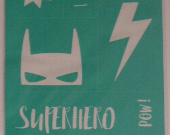 Chalk Couture Superhero Unused Transfer Silkscreen Reusable Stencil DIY I am Super Hero Lives Here Boom Pow Zap Batman Mask Lightening Bolt