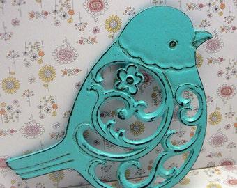 Cast Iron Bird Floral Trivet Turquoise Shabby Chic Kitchen Decor