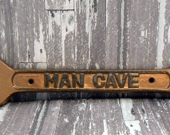 Man Cave Sign Wrench Wall Art Decor Gold Cast Iron Home Decor