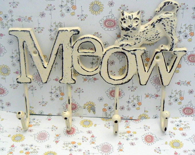 Cat Meow 4 Hook Cast Iron Shabby Chic Cream OFF White Wall Hook