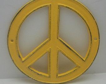 Peace Sign Cast Iron Yellow Bohemian Wall Art Shabby Chic Retro 70's Home Decor