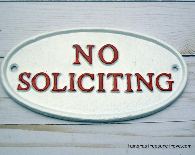 No Soliciting Cast Iron Sign Red White Wall Door Home Office Decor