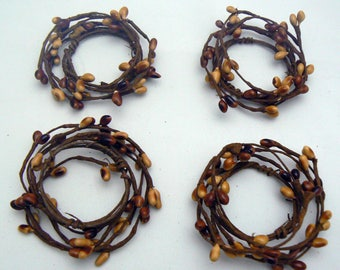 Pip Berry Candle Rings Set of 4 Brown Tan Cream Primitive Country Chic Home Decor