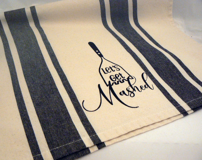 Let's Get Mashed Hand Towel Cooks Tea Towel Black Retro Stripe