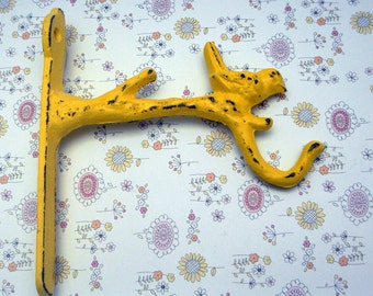 Bird Cast Iron Plant Hook Shabby Chic Yellow Hanging Plant Hook Fairy Garden