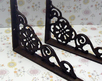 "Wall Bracket Set Ornate Shelf Brace 4 5/8"" x 6 3/8"" Natural Dark Brownish Raw Cast Iron Floral Medallion DIY 1 Pair (2 individual brackets)"