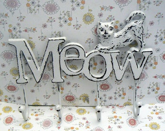 Cat Meow 4 Hook Cast Iron Shabby Chic White Wall Hook