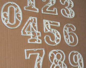 House Mailbox Numbers Shabby Chic 4.5 Inches Tall Cast Iron White Swirl Address Accent Table Marker Number