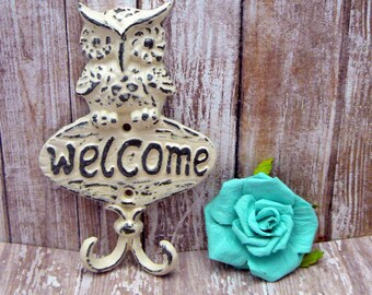 Owl Welcome Wall Hook Shabby Chic OFF White Cast Iron Leash Keys Mudroom Key Woodland Rustic Home Decor
