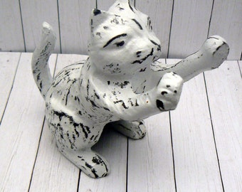 Cat Playful Kitty Figurine Shabby Chic White Kitten Outstretched Statue