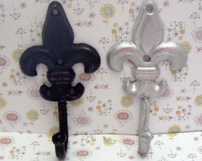 Fleur de lis Cast Iron FDL Blue Off White Set of Shabby Cottage Chic A Pair Hooks