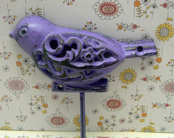 Bird Cast Iron Wall Hook Purple Shabby Chic Nursery Spring Summer Wall Decor