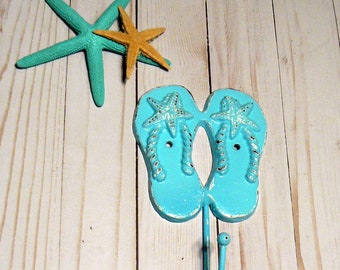 Flip Flops Wall Hook Shabby Chic Beach Aqua Blue Starfish Hook