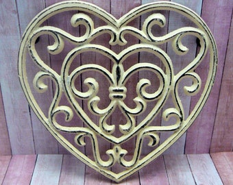 Heart Cast Iron Trivet Hot Plate Off White Cream Shabby Chic Fleur de lis FDL French Country Kitchen Decor