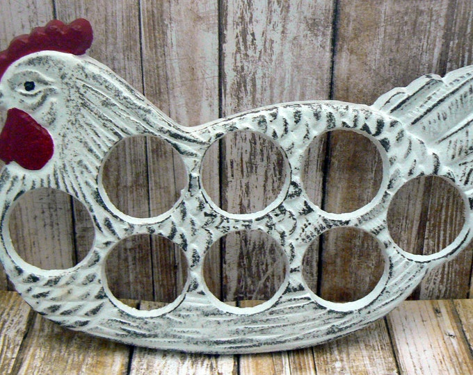 Rooster White Red Egg Holder Cast Iron Shabby Chic Farmhouse Kitchen Display for Eggs