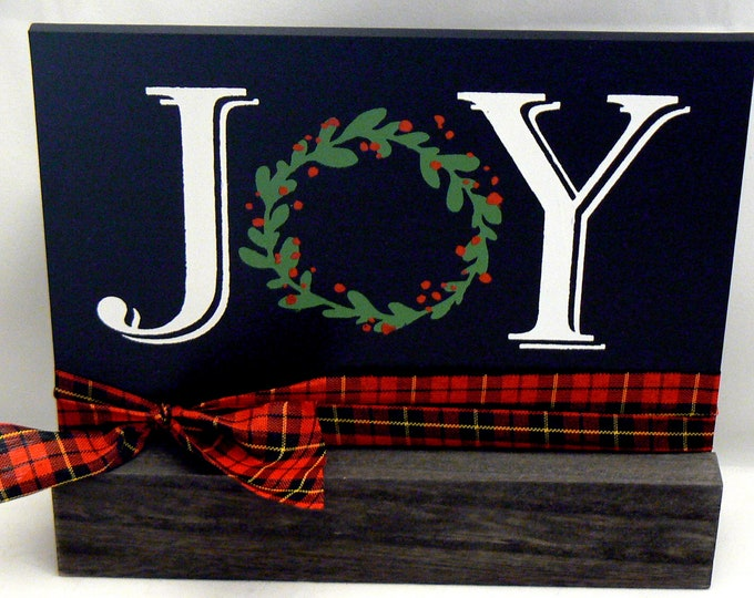 Christmas Joy Holiday Sign Chalkboard Plaque on Wood Stand
