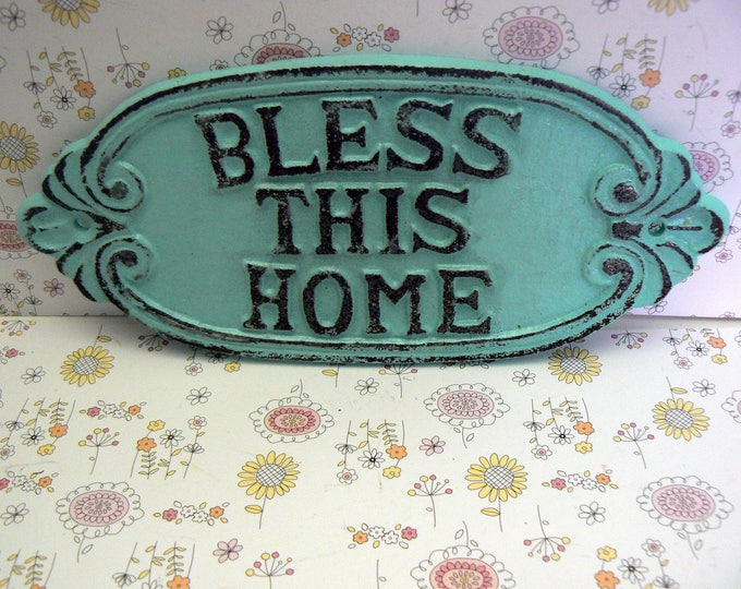 Bless This Home Cast Iron Sign Shabby Chic Beach Blue Wall Door Home Decor