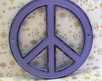 Peace Sign Cast Iron Lavender Bohemian Wall Art Shabby Chic Retro 70's Home Decor