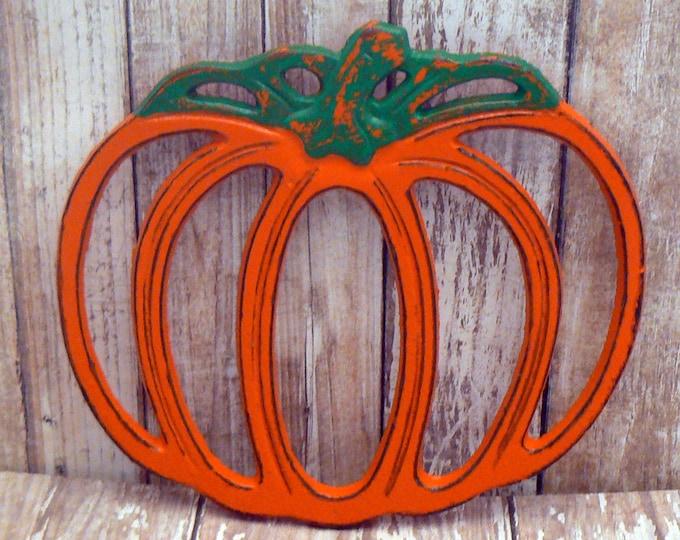 Pumpkin Hot Plate Orange Shabby Chic Jack o lantern Kitchen Harvest Fall Autumn Thanksgiving Decor