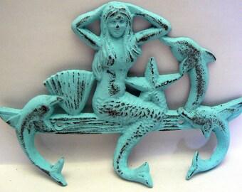 Mermaid Cast Iron Wall Hook Dolphin Starfish Seashell Blue Cottage Chic Shabby Chic Beach House Home Decor