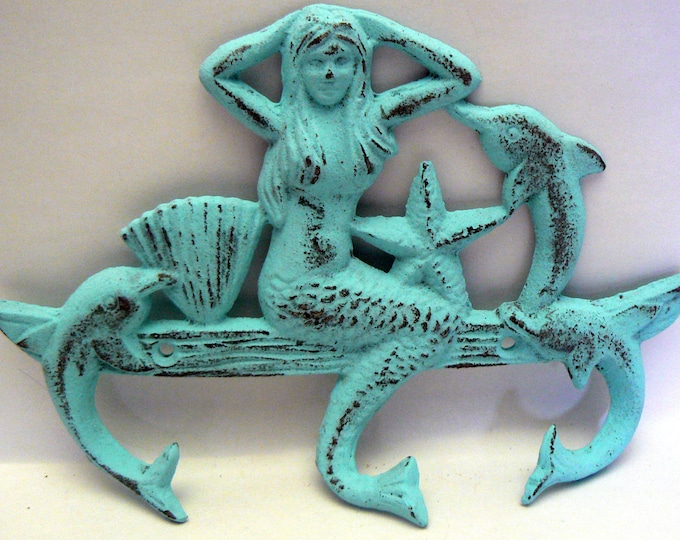 Mermaid Cast Iron Wall Hook Dolphin Starfish Seashell Blue Cottage Chic Shabby Chic Beach House Home Decor