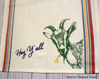 Goat Farmhouse Hey Y'all Kitchen Hand Towel Tea Towel